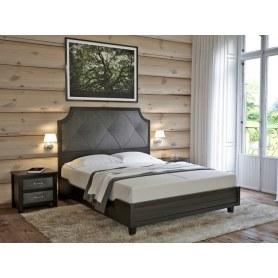 Кровать Richard, 160х200, Ткань Лофти Кофейный/массив Венге матовый