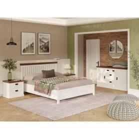Кровать Olivia, 180х200, сосна, белая эмаль/орех матовый