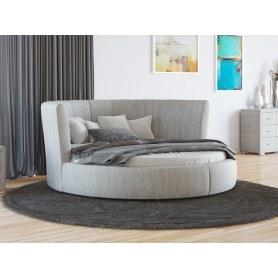 Круглая кровать Luna, 200х200, рогожка глазго серый