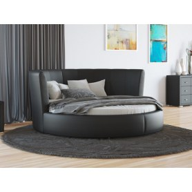 Круглая кровать Luna, 200х200, экокожа черная