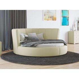 Круглая кровать Luna, 200х200, экокожа кремовая