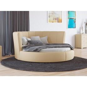 Круглая кровать Luna, 200х200, экокожа бежевая