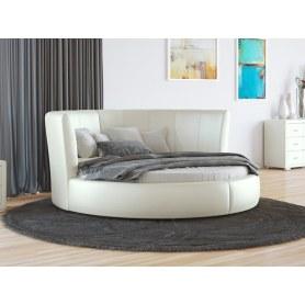 Круглая кровать Luna, 200х200, экокожа молочный перламутр