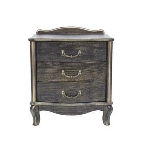 Прикроватная тумба Джульетта с 3 ящиками, цвет Венге/Золотая патина