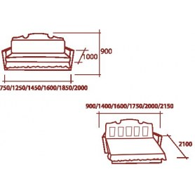 Прямой диван Аккордеон - бук 70 квадрат